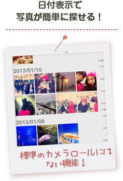 Lets you find photos easily with date sorting!